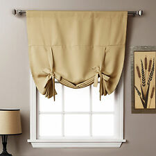"Thermal Insulated Blackout Curtain in Cream - Tie Up Shade For Window(40"" x 64"")"