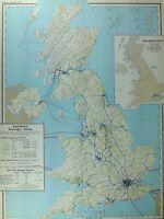 VINTAGE LARGE MAP of BRITAIN RAILWAYS PASSENGER TRAINS STATISTICS TRAFFIC