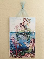 Shabby Distressed Mermaids Plaque Picture Shabby Wall Decor Ocean Beach