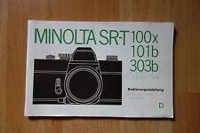 Descripción Minolta Sr-t 100x 101 B 303 B, 48 páginas 1977
