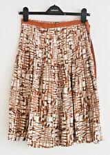 ZARA skirt kilt silk brown cream check pleated 62cm long size 36 approx UK 8-10
