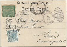 1900 PANAMA POSTCARD TO AUSTRIA WITH  POSTAGE DUE ON ARRIVAL. MAGNIFICENT!