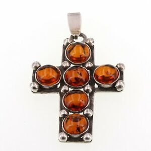 """Sterling Silver Baltic Amber Cabochon Cross Pendant 6 Grams 1"""" x 1.75"""""""