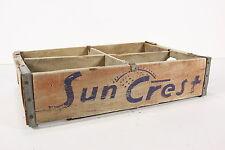Sun Crest Soda Pop Wooden Crate Bottle Holder Case W/ 4 Sections Rustic Vintage