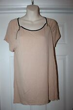 Ladies Nude Coloured Oasis Top Size M Blouse Zip Detail