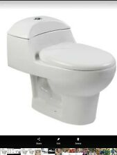 Modern Bath Vitreous China 1-Piece Dual Flush Elongated Toilet with Seat White
