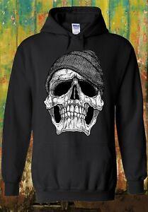 Skull With Beanie Hat Style Vintage Men Women Unisex Top Sweatshirt Hoodie 316