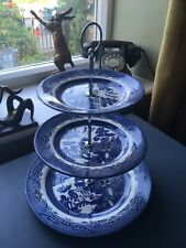More details for churchill willow pattern blue and white 3 tier cake stand