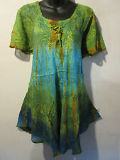 Top Fits 1X 2X 3X Plus Tunic Green Blue Lace Up Front Sequin V Neck A Shape 783T