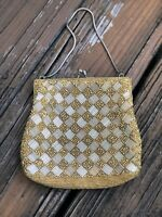 Vintage 50s 60s Gold Jeweled Beaded Purse Handbag Evening Bag Clutch 1950s 1960s