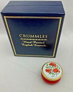 "STAFFORDSHIRE CRUMMLES ENGLISH ENAMELS Trinket Box RED ORANGE POPPIES Flowers 1"""
