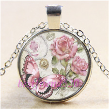 Pink Butterfly and Rose Cabochon Glass Tibet Silver Chain Pendant Necklace