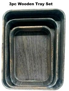 Wooden Tray 2 inch Deep 3 Sizes Serving Platters Set of 3 - Super Fast Delivery