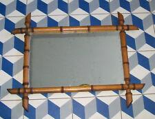 ANCIEN MIROIR CADRE BOIS IMITATION BAMBOU BARBIER Japonisant XIXe 45,5X58,5cm