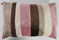 Set Of 4 Soft Fur Design Pink/Brown Striped Cushion Covers 50 x 35cm (680054)