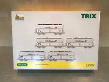 TRIX 23993 HO - GBAG Coal Hopper Set (5 Weathered Hoppers) - Brand New