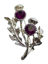 Scotland Thistle Brooch with Resin Amethyst Stones Boxed