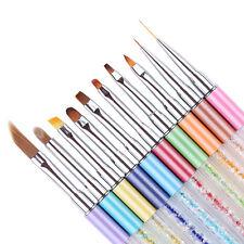 10Pcs Nail Art Gradient Pen Brush UV Gel Painting Liner Rhinestone Handle Tool