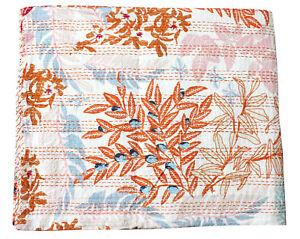 Vintage Ralli Quilt Kantha Bedspread Indian Handmade Cotton Blanket Queen White