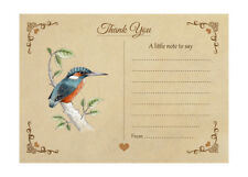 Kingfisher Thank You Note Cards & Envelopes - Pack Of 10 - Vintage Wildlife