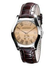 Emporio Armani Uhr AR0646 Classic Damen Leder Braun Armbanduhr Analog Quarz Neu