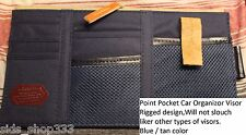 Point pocket car visor organizer ` Blue ` great gift Canvas Leather and mesh