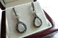 925 SILVER White MOTHER OF PEARL MARCASITE TEARDROP Drop Dangle EARRINGS