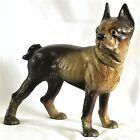 "DOORSTOP, dog, cast iron Boston Terrier, French Bulldog, detailed, orig pnt, 9""t"