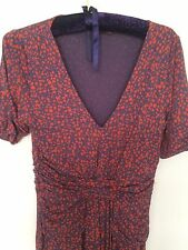 Great Plains M 12-14 S/Sleeve MIDI Ruched Style Purple/red Dress Pretty Teadress