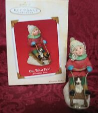 Hallmark 2003 Chalkware Ornament~A Visit From Santa Collection~Oh, What Fun!