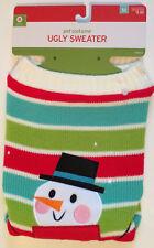 Christmas Pet Costume Ugly Sweater Size Medium Striped Snowman - Warm - New