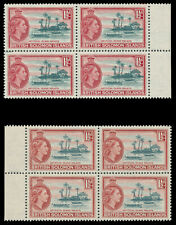 Solomon Islands 1956 QEII 1½d in both listed shades block superb MNH. SG 84, 84a