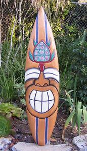 "Happy Tiki Hono Turtle Tropical Nautical Wood Surfboard Wall Plaque Tiki Bar 38"""