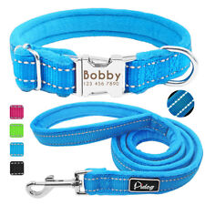Personalized Warm Nylon Dog Collar with Reflective Leash Metal ID Engraved Tags