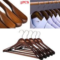 Heavy duty Wooden Wood Clothes Hangers Walnut Coat Suit Dress Pants Shirt Hanger