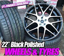 "22"" Vw T5 amarok Range Rover x5 bmw 5 spoke style Alloy Wheels + Tyres black POL"