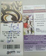 JULIO URIAS SIGNED MLB 1st MLB win TICKET STUB ROOKIE Autograph JSA Q38676