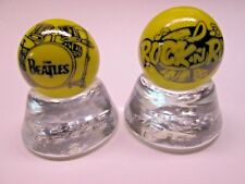 2 -THE BEATLES & ROCK - N - ROLL IMAGES ON YELLOW  MARBLES