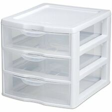 Mini Drawer Storage Cabinet Box Desk Tool Organizer Home Office Plastic Clear