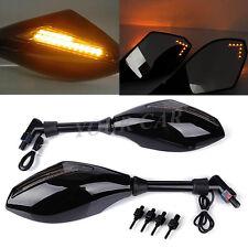 LED Motorcycle Turn Signal Mirrors For Cruiser bike 10mm Clockwise thread