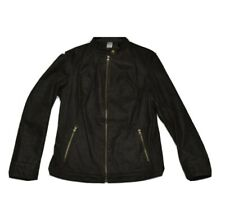 Vintage  Womans GENUINE LEATHER Jacket Black Coat Lined Size M