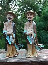 VINTAGE PAIR OF ASIAN FISHERMAN  FIGURINES  CERAMIC POTTERY  - FREE SHIPPING