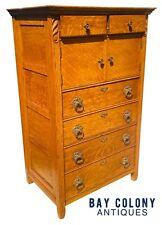 19Th C Antique Victorian Tiger Oak Hat Box Dresser / Tall Chest