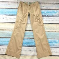 "Guess Jeans Womens Pants size 2 Tan Embellished Bootcut x33"" insm Cargo Stretch"