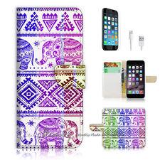 ( For iPhone 7 Plus ) Wallet Case Cover P0432 Aztec Elephant