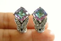 White Cubic Zircon Mystic Topaz 925 Sterling Silver Post Huggie Earrings