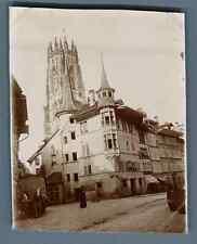Suisse, Fribourg, Vieille Maison  Vintage citrate print. Schweiz. Switzerland.