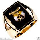 Shriner Mason Black Onyx 2 Clear Crystal Stone Gold Plated Men Ring Size 11