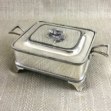 Antique Butter Dish Victorian Silver Plated Sardine Box Conch Shell Walker Hall