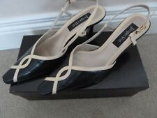 Jacques Vert Navy Blue Biscuit Beige Leather Slingback Shoes Size 40 6.5 BNIB